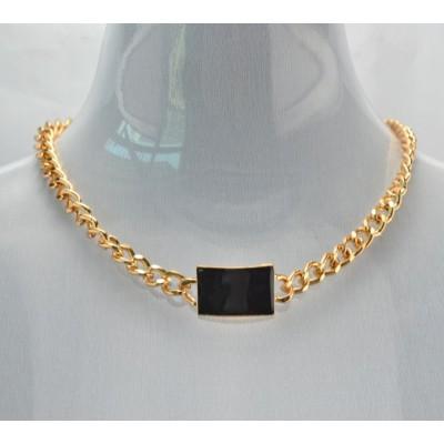 New Fashion European Gold Plated Alloy Link Chain Pink/Black Enamel Geometry Choker Necklace Bracelet Set S-0069
