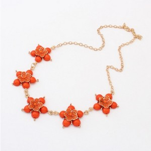 New Fashion gold plated alloy resin gem beads orange flower pendant necklace N-3035