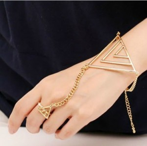 New Korean Style Gold/Silver Plated Alloy Hollow Out Triangle Ring Bracelet Set B-0303