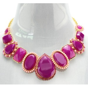 New Fashion European Style Gold Plated Alloy resin gem rhinestone beads drop choker Necklace N-3034