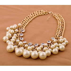 High Quality Golden Plated Pearl Pendant Collar Necklace for Women N-1597