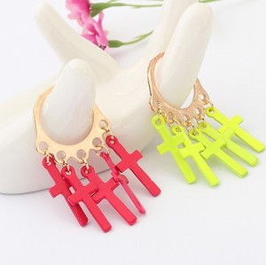 New Fashion Gold Plated Alloy Candy Color Enamel Crosses RIng R-1088