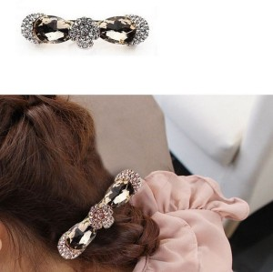 charming gold plated alloy rhinestone flower bowknot drop crystal  hair clip F-0098