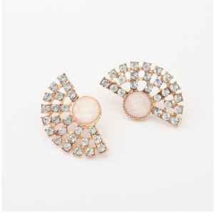 New Fashion Korean Style Gold Plated Tone Rhinestone Acrylic Semicircle Ear Stud Earrings E-2100