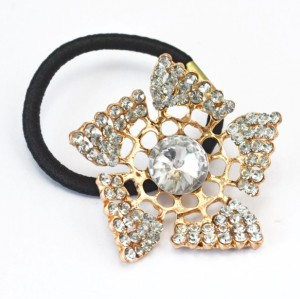 Fashion Gold Plated Alloy Hollow Out Flower Rhinestone Crystal Hair Band F-0101
