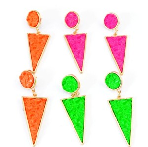 New Fashion Gold Plated Alloy Candy Color Enamel Round Triangle Ear Stud Earrings E-2099