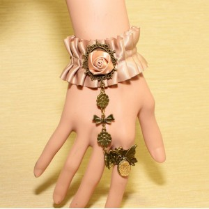 Gothic vintage style bronze metal silk rose flower bowknot butterfly gem ring bracelet B-0304