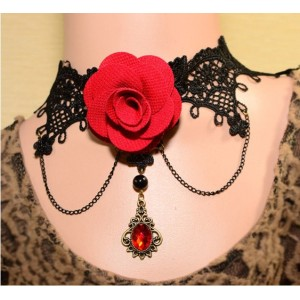 Hot Sale European Gothic Vintage Style Bronze Alloy Blace Lace Red Rose Crystal Butterfly Ring Bracelet Necklace Set S-0073