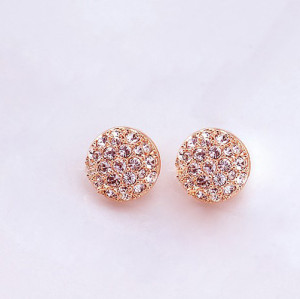New Design Hot Sale Korean Style Gold Plated Alloy  Rhinestone  Ear Stud Earrings E-2107