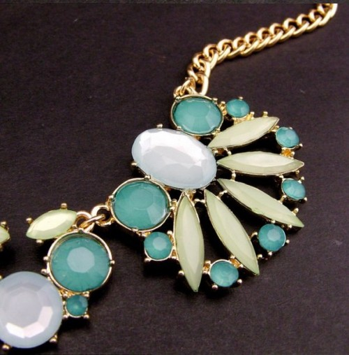 New Europe Style Jewelry Gold Plated Acrylic Fresh rhinestone crystal powder enamel water droplets necklace N-3037