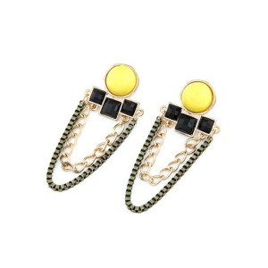 New Vintage Style Gold Plated Alloy resin gem geometry tassels Ear Stud Earrings E-2105