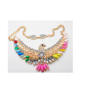 New Fashion Crystal Flower Chunky Statement Choker Necklace N-3411
