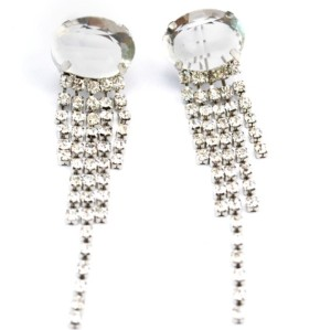 New Fashion Korean Style Silver Plated Alloy Crystal Rhinestone Tassels Ear Stud Earrings E-2109