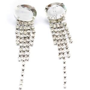 New Fashion Korean Style Silver Plated Alloy Crystal Rhinestone Tassels Ear Stud Earrings E-2109