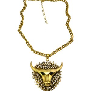 New vintage style clear rhinestone yak ox pendant Necklace N-3412