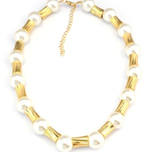 New korea style white pearl link chain choker Necklace adjustable N-1604