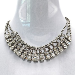 New Fashion Korean Style Gold Gunblack Silver Plated Alloy Clear Crystal Rhinestone Choker Necklace N-1603