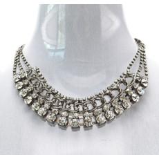 New Fashion Korean Style Gold Gunblack Silver Plated Alloy Clear Crystal Rhinestone Choker Necklace N-1603