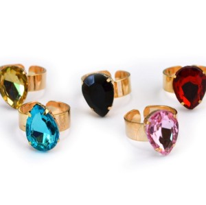 New Fashion Gold Plated Alloy drop crystal opened RIng 5 colors R-1087