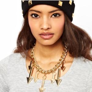 New Fashion European Punk Style Gold Plated Alloy Link Chian Arrow Tassel Choker Necklace N-4267