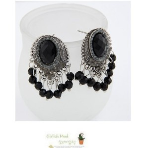 New Fashion vintage Style Silver alloy black gem rhinestone beads Tassels Ear Stud Earrings E-0290