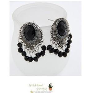 New Fashion vintage Style Silver alloy black gem rhinestone beads Tassels Ear Stud Earrings E-0290