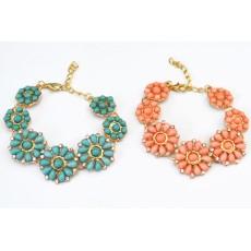 New Korean Style gold Plated Ally clear rhinestone resin gem flower bracelet adjustable 2 colors B-0312