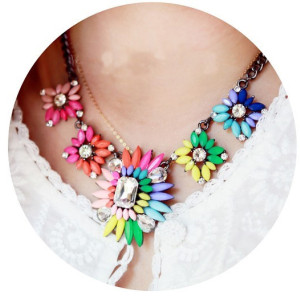 New Arrival Jewelry gun black metal Colorful Acrylic crystal Flower Statement Choker Necklaces N-3046