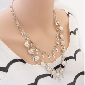 New Fashion European Silver Plated Alloy Multilayer Skull Crosses Choker Necklace N-3043
