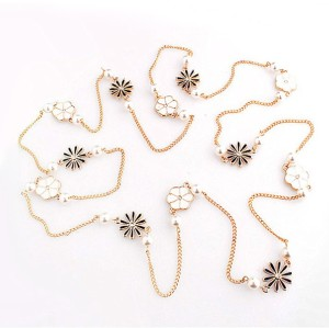 New Fashion Korea style black white enamel rhinestone flower pearl long chain  sweater necklace N-1605