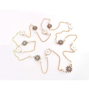 New Fashion Korea style black white enamel rhinestone flower pearl long chain  sweater necklace N-1605
