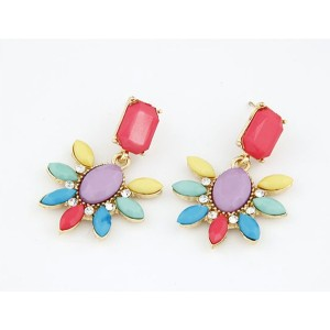 E-2113 New Europe Style Exaggerated Fashion Temperament of Fluorescent Gorgeous Sunflower Metal Stud Earrings