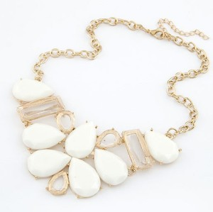 N-3048 New European Style Gold Plated Alloy Resin Acrylic Drop Square Choker Necklace