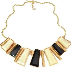 New Fashion Resin Gem Geometry Trapezoid Golden Metal Strip tassels Choker  Necklace N-4272