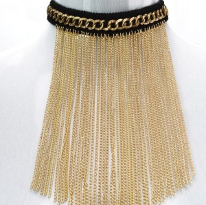 Gothic  Black Ribbon choker chain gold  tassels choker  Necklace adjustable N-1057
