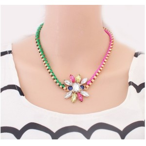 New Korean Style Gold  plated link ribbon chain crystal flower pendant Choker Necklace N-3041