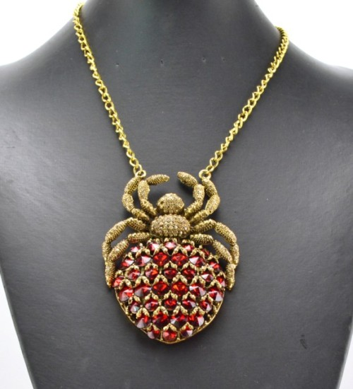 N-3414 New Fashion Style  Bronze Alloy Metal Colourful Crystal Spider Shape Pendant Necklace