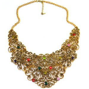 N-1896 New Coming Alloy Hollow Out Flower Antique Style Collar Necklace For Women