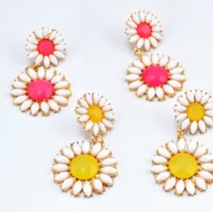 S-0079 New  Korea Stylle Summer joker Pink/Yellow/Blue Glazed Fresh and Sweet Sunflower gold Metal Necklace Ear Stud Earrings Set