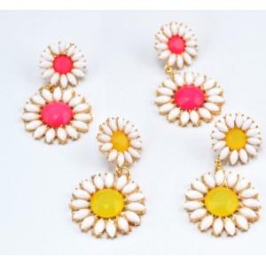 S-0079 New  Korea Stylle Summer joker Pink/Yellow/Blue Glazed Fresh and Sweet Sunflower gold Metal Necklace Ear Stud Earrings Set