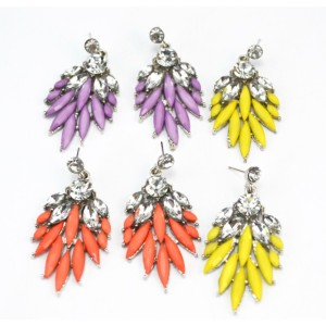 E-2112 New Coming Elegant  Silver Plated Alloy Leaf Crystal Dangle Earrings