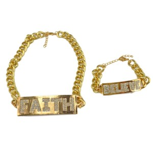 S-0080 NEW Lady Exaggerated Link Chain Golden Metal Necklace Brecelet Set