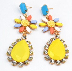 E-2117 New coming charming colorful rhinestone flower water drop earrings