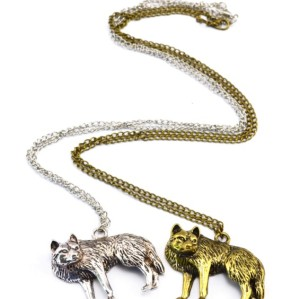 N-3415 New arrival Gold/Silver Metal wolf Sliding pendant Necklace