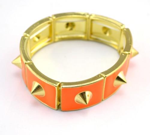 B-0314 New Arrive Gold-plated Drop Glaze Rivet Elastic Bangle