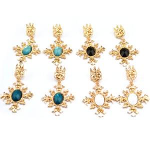 New vintage style gold metal crystal cross shape earrings E-2125