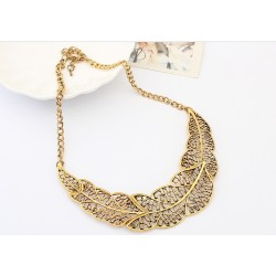 New Arrival Vintage Style Golden Silver Alloy Hollow Out Leaves Choker Necklace N-1898