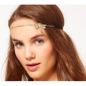 2013 new Bohemian style rhinestone flax fancy dragonfly hair band F-0108