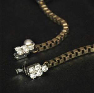 New Arrival Vintage Style Bronze Alloy fluorescence resin gem crystal flower  Choker Necklace N-3053