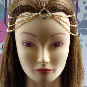 Fashion European Style Gold Plated Tone Rhinestone Round Tassel Hair Band F-0109
